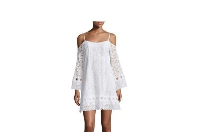 Nanette Lepore Cold-Shoulder Eyelet A-line Dress