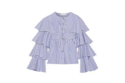 Caroline Constas Ruffled Striped Cotton Oxford Jacket