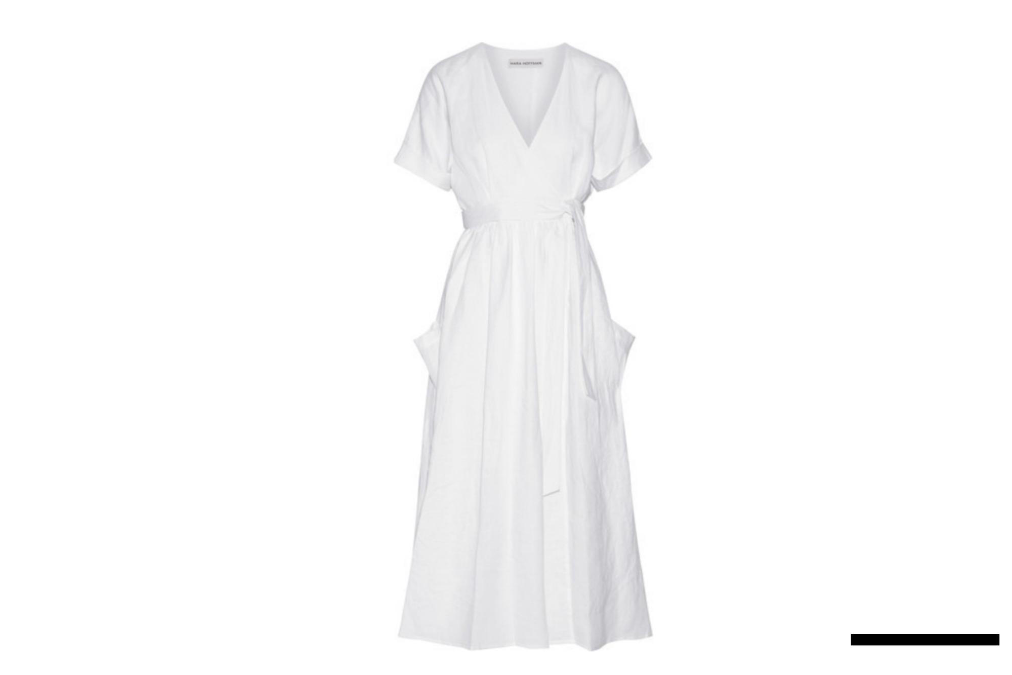 White Linen Wrap Midi Dress