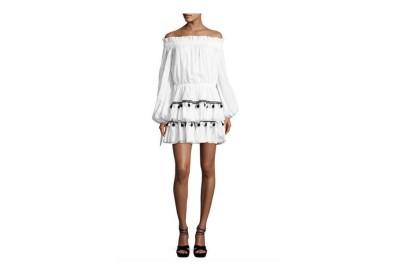 Caroline Constas Lou Pompom Off-The-Shoulder Mini Dress