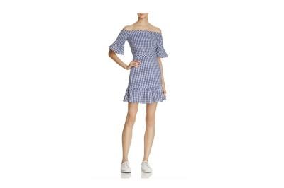 Lucy Paris Gingham Off-The-Shoulder Dress