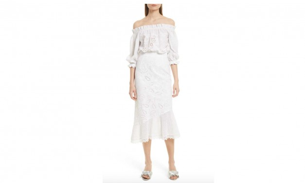 Saloni White Eyelet Cotton Dress