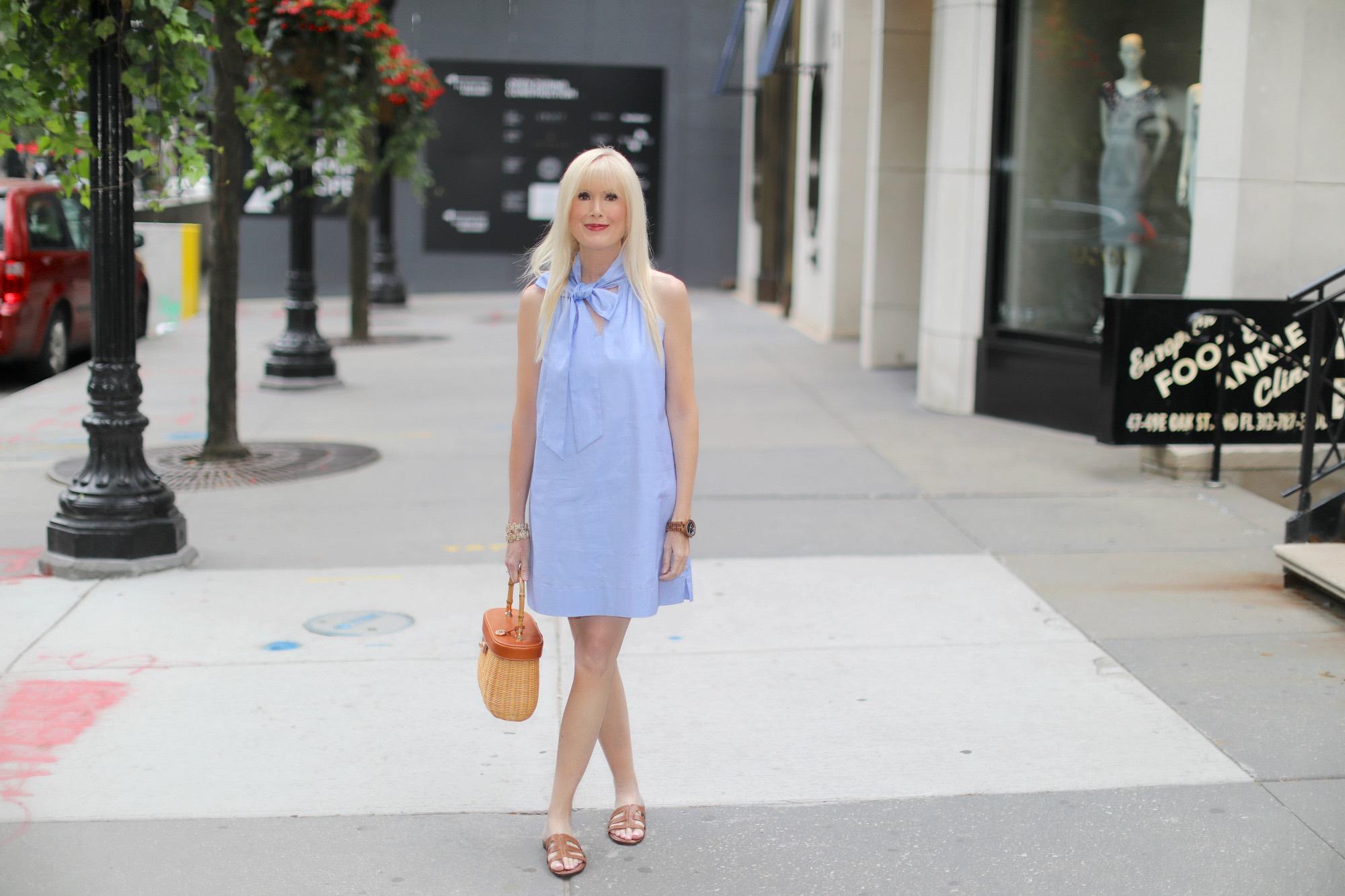 A Bow Embellished Shift Dress