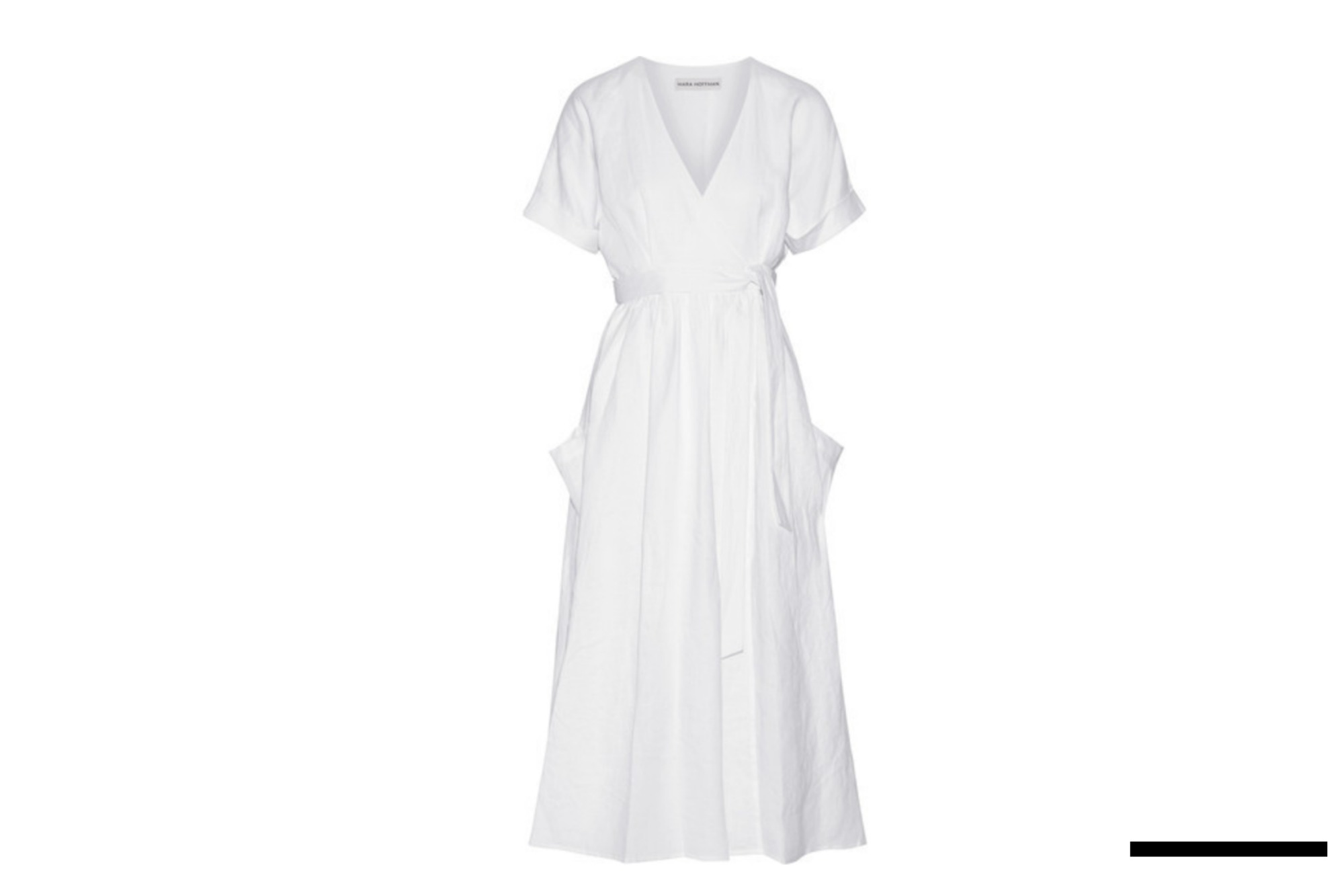 White Linen Wrap Midi Dress