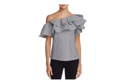 Aqua One-Shoulder Ruffle Striped Top